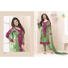 Light Green Colored Unstitched Salwar - 1237  Light Green Colored Synthetic Brasso work Semi Stitched Top and Light Green Colored Crepe Silk Pant with same Colored Chiffon Dupatta.