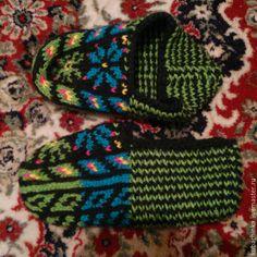 Купить Этно Джурабы. Теплые носки. Кубачинская домашняя обувь - разноцветный, цветочный, джурабы, джурабки