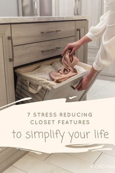Does your closet stress you out? In this article learn 7 stress reducing closet features (like this in drawer hamper) to have a custom closet system which will work for you. | Innovate Home Org Columbus Ohio