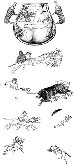 A drawing of Sarmatian horsemen on a vessel from Kosika, Kuban, 1st century AD