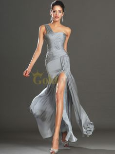 [US$178.00] Crisscross Detailed Single Strap Satin Chiffon Evening Dress