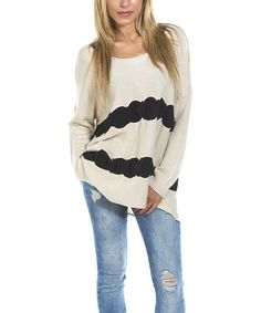 Love this White & Black Lama Sweater by Hippyssidy on #zulily! #zulilyfinds