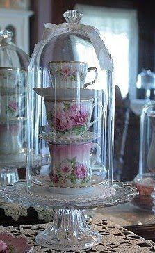 Teacup Stack for decorative homes  Source: www.bellasrosecottage.blogspot.com