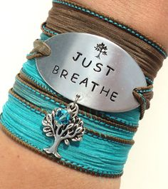 Just Breathe Silk Wrap Bracelet Yoga Jewelry Tree Hand Stamped Unique Gift For Her Teacher Daughter Stocking Stuffer Under 50 Item K82 on Etsy, $39.95