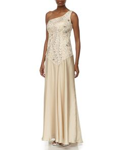 One-Shoulder Passamenterie Evening Gown, Champagne by Sue Wong at Neiman Marcus Last Call.