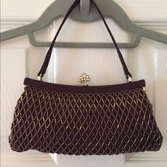 Evening bag Brown/bronze beaded evening bag. Pretty princess crown snap closure 👑 intricate beading all over. Like new, used once for a few hours. Franchi Bags Mini Bags