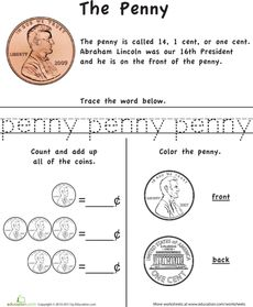 Learn the Coins: The Penny Worksheet. Links to the quarter, nickel, and dime worksheets too.