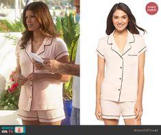 Xiomara's light pink shotie pajama set on Jane the Virgin.  Outfit Details: http://wornontv.net/47674/ #JanetheVirgin
