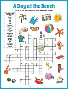 Everyone loves a day at the beach and with this fun summer crossword puzzle they will be reviewing vocabulary and spelling while having fun.  Each clue is a colorful image - puzzlers must fill the name in the grid.  The worksheet comes in two versions: one with a word bank (good for beginners) and the other without (good for more advanced students).The vocabulary words included are: ball, camera, crab, fins, fish, hat, hot dog, ice cream, kite, lighthouse, pail, palm tree, sailboat…