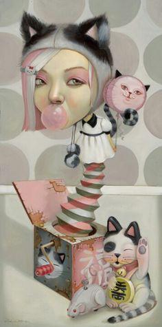 Lucky Cat by Leslie Ditto Art Kawaii, Chesire Cat, Art Beat, Maneki Neko, Lowbrow Art, Wow Art, Creepy Cute, Salvador Dali, Whimsical Art