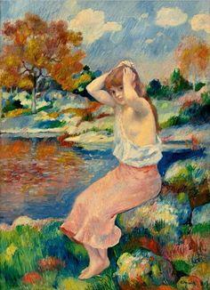 """La Toilette, by Pierre-Auguste Renoir, 1885. Oil on canvas, 20 1/8 x 14 5/8"""" (51 x 37 cm)   Sotheby's, NY"""