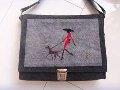 Tasche,Wollfilz,Steckschloß,Außentasche,Beutelhuhn,anthrazit,Frau mit Hund,