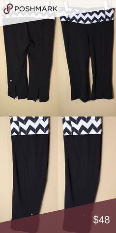 Lululemon Chevron Black Cropped Leggings with Slit In good condition; no stain; no holes; little to no piling lululemon athletica Pants Capris