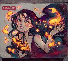 Fantasy illustrations Drawn with Imagination Art And Illustration, Manga Art, Anime Art, Yuumei Art, Manga Kawaii, Estilo Anime, Cool Drawings, Cute Art, Art Inspo