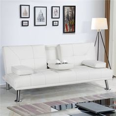 Sofa Bed Black, White Futon, White Couches, Sofa Bed Home, Futon Sofa Bed, Recliner, Sofa Sleeper, Futon Bedroom, Living Room White