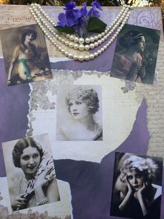 Mixed Media Vintage Looking Photographs on Painted Canvas