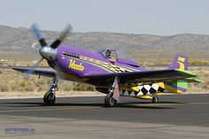 """Air Racers are not exempt from lavender paint. Here is much-modified P-51 Mustang """"Voodoo,"""" Race #5."""