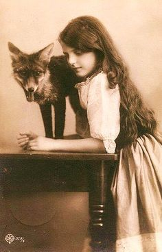 Girl and her fox. I want a pet fox dammit!