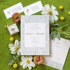"""Spring pigments and fresh petals are sure to make a splash. """"Pattern Play"""" by Seven Swans __ Photo Green Wedding, Wedding Colors, Wedding Day, Birthday Party Invitations, Wedding Invitations, Seven Swans, Wedding Details, Holiday Cards, Place Card Holders"""