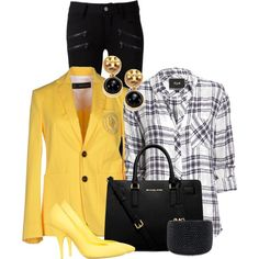 Golden Blazer by debpat on Polyvore featuring Rails, Dsquared2, Paige Denim, Moschino, Michael Kors, Kenneth Jay Lane and Tory Burch
