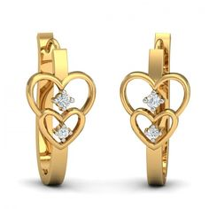 You said you wanted hoops, we gave you hoops. Then you said you wished for pretty heart shaped hoops and we gave you not one, but two hearts. This pretty and cute hoops makes sure that you are always GAME ON! Go ahead & customize it with options in Gold Purity (18K, 14K), Diamond Grade (SI-HI, VS-GH, VVS-GH) & Metal Colour (Yellow, White, Rose) of your liking. Create your own unique jewelry. #First #Love #Diamond #Hoop #Earrings