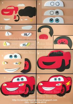 Rayo Mcqueen hechos en fieltro con Lightning Mcqueen made of felt with Car Themed Parties, Cars Birthday Parties, 3rd Birthday, Lightning Mcqueen Cake, Lightening Mcqueen, Disney Cars Party, Disney Cars Birthday, Disney Cars Cake, Auto Party