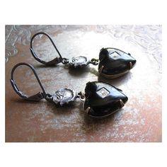 Black Heart Earrings Vintage Repurposed Jewelry Dark Assemblage... ❤ liked on Polyvore featuring jewelry, earrings, earring jewelry, heart earrings, gothic earrings, goth earrings and vintage earrings