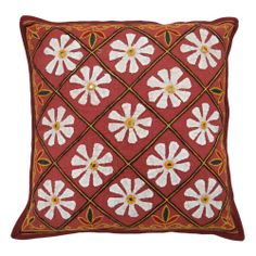 Embroidered Maroon Cushion Cover Floral Pattern Handmade Cotton Pillow Case