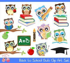 Items similar to Back to School Owls Clipart Set on Etsy Back To School Images, Owl School, Owl Theme Classroom, Classroom Teacher, Kindergarten Classroom, Classroom Ideas, Witch Clipart, Owl Cartoon, Owl Art