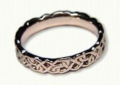 14kt Rose Gold Sculpted Continuous Heart Knot Wedding Band - Available In All Metals and Sizes