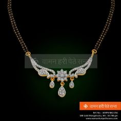 Diamond Mangalsutra, Gold Mangalsutra Designs, Gold Jewellery, Wedding Jewelry, Beaded Jewelry, Gold Jhumka Earrings, Gold Chain Design, Pearl And Diamond Necklace, Emeralds