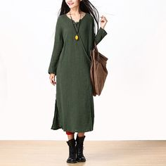 Solid green rope tied midi dress maxi linen dress by Royaldress