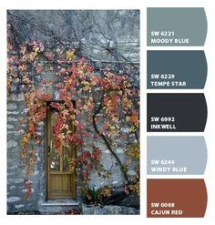 ColorSnap by Sherwin-Williams – ColorSnap by :) moody blue! Paint Color Schemes, Colour Pallette, Color Azul, Color Combos, Rustic Color Palettes, Rustic Colors, Rustic Color Schemes, Color Harmony, Color Balance