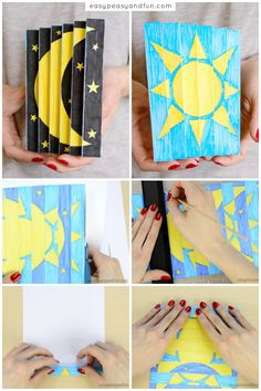 Night and Day Agamograph Template - Easy Peasy and Fun Paper Crafts For Kids, Diy Crafts For Kids, Arts And Crafts, Christmas Templates, Day For Night, Diy Crafts Videos, Art Plastique, Art Activities, Art Day