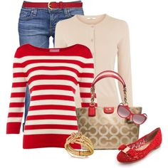 Red Stripes by elenh2005 on Polyvore
