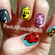 Winnie the pooh nail art. Originally done by polishartaddiction.