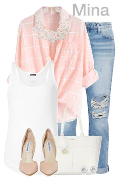 """""""Mina"""" by alyssa-eatinger ❤ liked on Polyvore featuring Current/Elliott, ATM by Anthony Thomas Melillo, Furla, Steve Madden and Kenneth Jay Lane"""