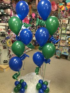 Royal blue & green balloons with squiggles