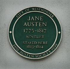 Jane Austen green plaque at 10 Henrietta Street London WC2, where she stayed with her brother, Henry. Flickr
