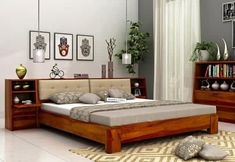 Buy Bolivia Multi Storage Bed (Queen Size, Honey Finish) Online in India - Wooden Street Buy King Size Bed, Wooden King Size Bed, Wooden Double Bed, Double Beds, Bed Designs With Storage, Double Bed With Storage, Wood Bed Design, Bedroom Bed Design, Bedroom Interiors