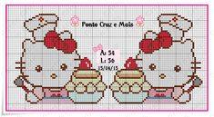 Hello Kitty Cupcakes, Cute Stitch, Cross Stitch For Kids, Hama Beads, Cross Stitch Patterns, Bullet Journal, Kids Rugs, Diy Crafts, Quilts