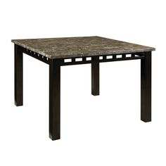 Dining Table With Marble Top Dark Brown Finish