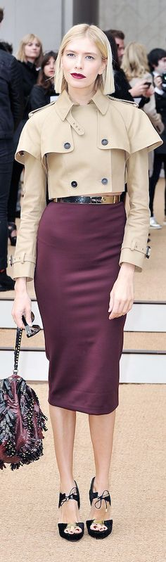 Elena Perminova wearing Burberry Prorsum ~ Spring Double Breasted Cropped Jacket w Pencil Midi Skirt 2014