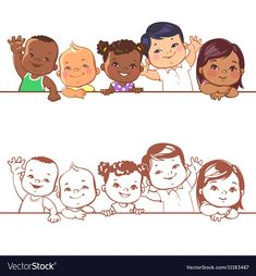 Smiling boys and girls of different races Vector Image Little Baby Girl, Cute Little Girls, Little Babies, Cute Kids, Boy Or Girl, Line Art Vector, Color Vector, Dog Vector, Vector Free