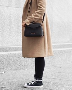 A Little Detail - Converse Sneakers & Camel Coat // #camelcoat #graphictshirt #converse #fallfashion #winterfashion #womensfashion