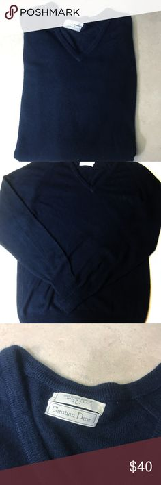 Christian Dior VTG large mens v neck sweater Navy Christian Dior vintage size large men's sweater. Dark navy, v neck pullover. 100% orlon acrylic. Soft and warm and really could be a unisex item as a woman could easily wear. Christian Dior Sweaters