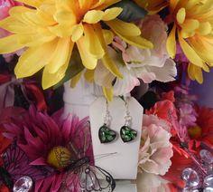 PURPLE HEART FLOWERY Earrings - Purple Glass Green Flowers with Gold Dust Murano Silver French Hook Coil Earrings - Murano Glass Earrings by ChrysalisCrystalGems on Etsy