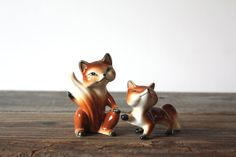 Vintage Fox Salt and Pepper Shakers