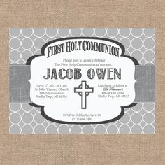 First Communion Announcement Wording | Boy First Communion Invitation by KendyllRaes on Etsy