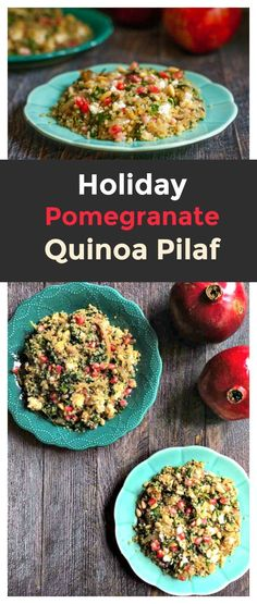 This holiday pomegranate quinoa pilaf is an easy side dish to whip up and tastes fantastic. Perfect for a healthy, holiday celebration.
